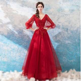 Gown Collection - Vintage V Neck Lantern Sleeves Design Gown