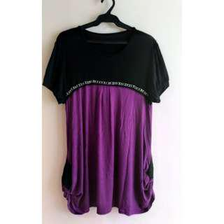 Plus Size Black and Purple Long Top w/ Jewel Detail