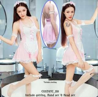 Kostum sexy maid pink