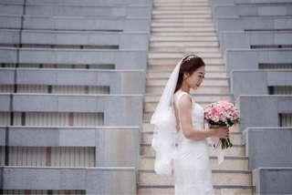 新娘短款蕾絲頭紗 wedding lace short veil