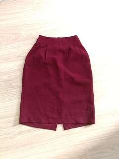 Korean pencil skirt 修身上班磚紅半截裙