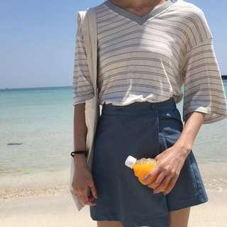 🚚 藍色偽褲裙
