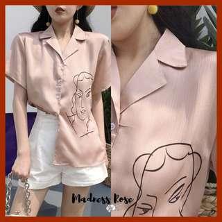 Woman Face Print Blouse (Pink)