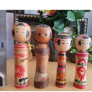 4 pcs kokeshi doll japanese