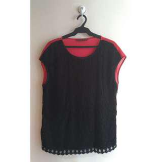 Samlin Ladies' Black & Red Lace Chiffon Top