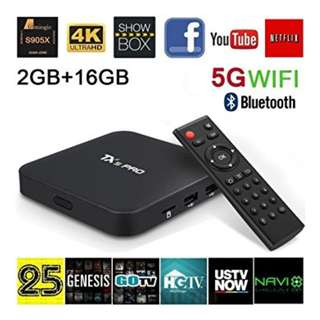 Tx5 Pro: 2G ram + 16G rom + Duel Wifi + Bluetooth, Android tv box