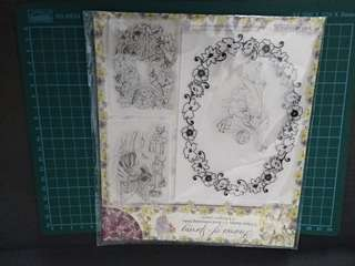 bN fairies of spring collection (3 fairy stamps 1 floral embossing folder 4 designer papers)