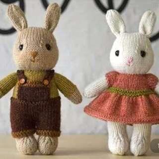 中文萌兔小貝-手工棒針編織玩偶娃娃文字解 非成品