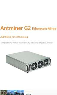 Bitmain G2 ethereum miner (220MH for eth)