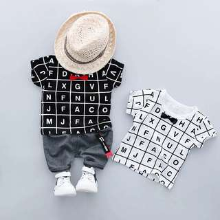 Little Kid 2 Pcs Set - FGR981  Color: white tee set, black tee set  Size: 70cm, 80cm, 90cm, 100cm