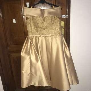 Gaun Dress Pesta Gold Caroline Kosasih