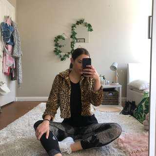 Crop cheetah print jacket