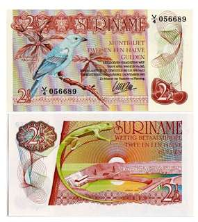 1985年 蘇利南 2.5盾紙幣 全新直版