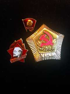 Vintage (ca. Before 1990) Soviet Union USSR Russian Hammer & Sickle Medal & Vladimir Lenin Enamel Badges Pair, Communist Marxist Propaganda Collectibles 100% Originals & Authentic. All 3 for $8!