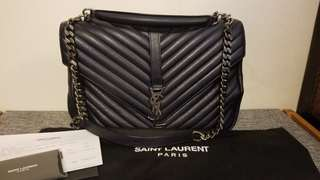 YSL Saint Larent College Handbag Blue 藍色側揹袋