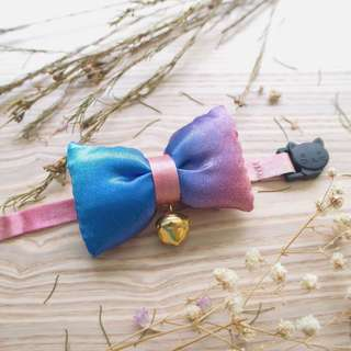 Galaxy Rainbow Poofy Bow Collar