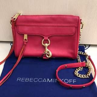 Rebecca minkoff 經典桃紅色釦環金鍊斜背包