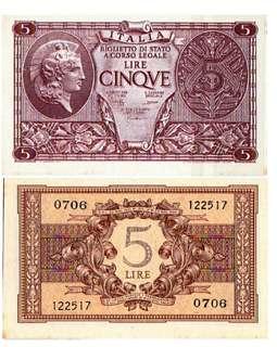 1944年 意大利5里拉 全新直版(有黃)