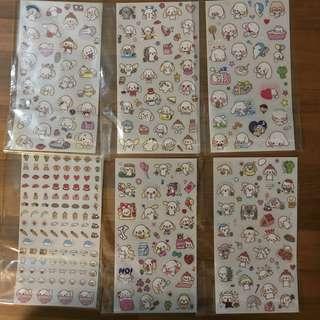 6pcs Bunny sticker set from Korea