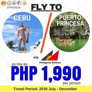 Promo: Manila to Cebu OR Puerto Princesa City via Philippine Airlines