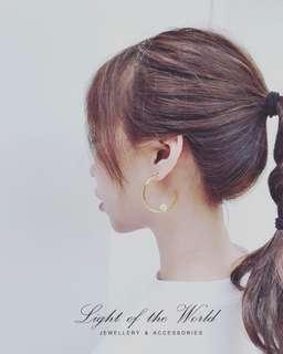 🚚 圓勾珍珠耳環