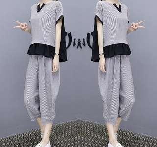 6629 #休閒時尚寬鬆顯瘦闊腿褲 兩件套  颜色: 軍綠色 黑色 灰色   尺码: S M L XL 2XL 3XL