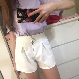 圓環短褲 高腰褲 白褲