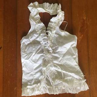 MNG suit ruffled top