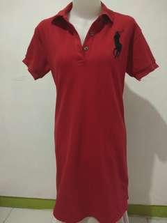 Polo dress warna merah