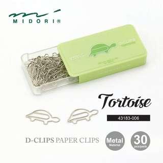 Midori 43183-006 D-Clips Paper Clips - Tortoise - Box of 30