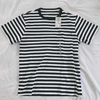 🚚 MUJI無印良品 男有機棉粗織附口袋T恤 小寬版 黑白條紋M 全新