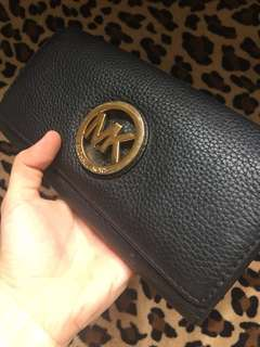 💕ORIGINAL MK black leather long wallet