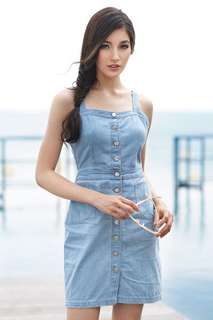 *Premium* TCL Hilton Denim Dress in Light Denim