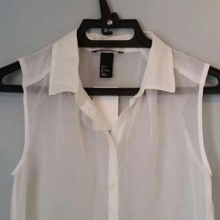 repriced H&M WHITE SHEER TOP
