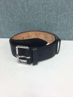 LV Monogram black leather woman belt Sz 34