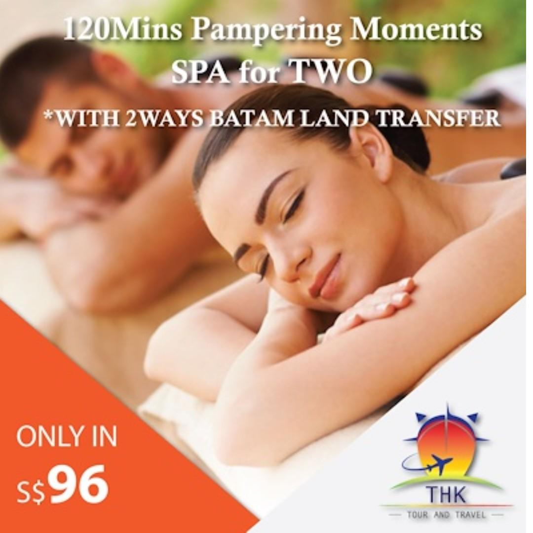 120mins Pampering Moments SPA FOR TWO + 2ways Batam land transfer Only in S$96/COUPLE