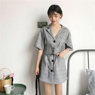 🚚 新款韓版寬松西裝領格子短裙氣質一排扣短袖連身裙配腰封【E1031】
