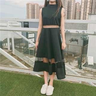 🚚 夏季新款女裝韓版鏤空網紗拼接中長款大擺裙氣質顯瘦無袖連身裙【E1032】