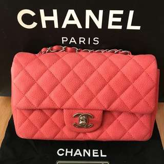 Chanel Mini Rectangular Red Coral Caviar with SHW