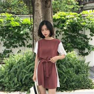 🚚 2018新款女裝復古撞色收腰寬松顯瘦拼色短袖打底連身裙【E1038】