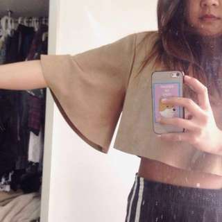 Camel butterfly sleeves suede cropped top