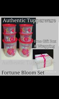 Authentic Tupperware  Fortune Bloom Set One Touch  Fortune Bloom Topper Junior 600ml (4) 13.0cm (D) × 8.2cm (H) Fortune Bloom Canister Small 2L (2) 15.1cm (D) × 17.4cm (H)  Retail Price S$78.00 Now S$59.00set