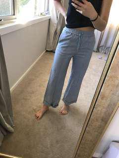 baby blue straight leg pants