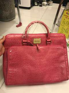Kate and Co false leather bag in bright pink(42 cm by 30 cm)