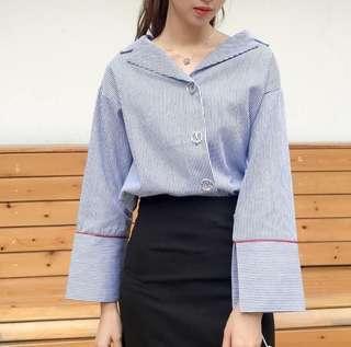 🚚 2018新款女裝韓版寬松西裝領條紋喇叭袖上衣休閒長袖襯衫【E1044】