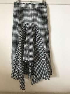 韓貨 黑白格魚尾裙