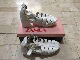 Zanea White Cage Heels