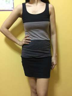 Gray-Black stripes fitted dress from Promod