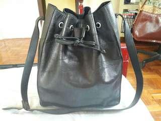 CESTI COLLECTION Genuine Leather Black Drawstring Bucket Bag