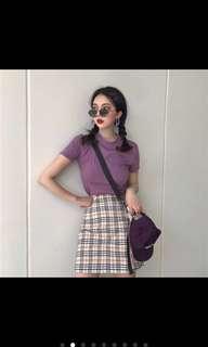 🚚 紫色系短袖+格紋A字裙